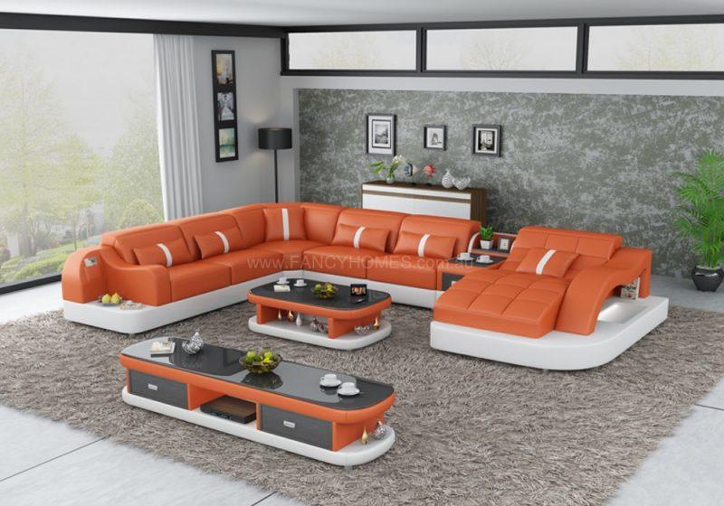 Fancy Homes Danica modular leather sofa in orange and white leather with open-shelf displays and LED lighting systems