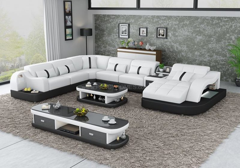 Fancy Homes Danica modular leather sofa in black and white leather with open-shelf displays and LED lighting systems