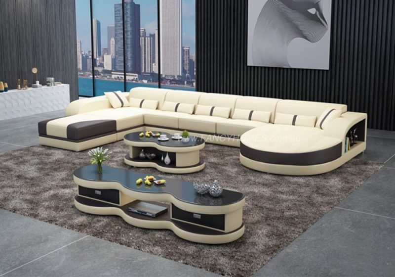 Fancy Homes Dominic Modular Leather Sofa in Beige and Black Leather with Adjustable Headrests and Open Shelf Displays