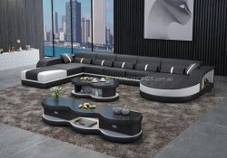 Fancy Homes Dominic Modular Leather Sofa in Black and White Leather with Adjustable Headrests and Open Shelf Displays