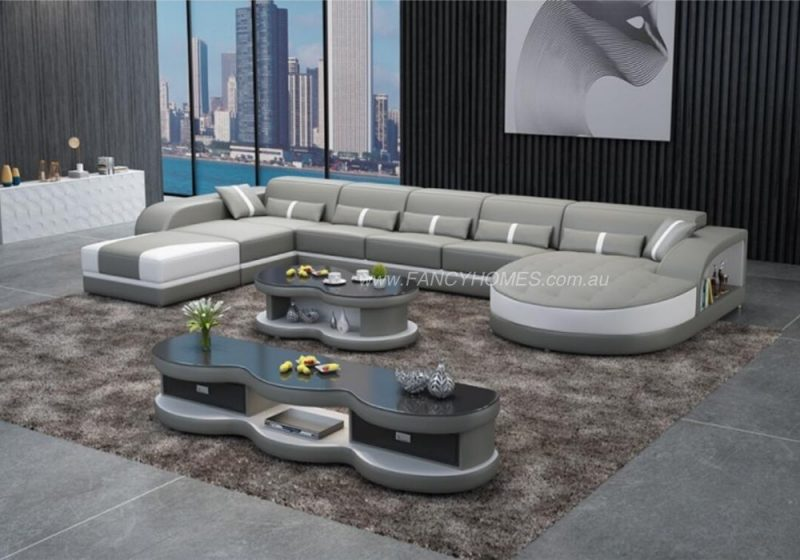 Fancy Homes Dominic Modular Leather Sofa in Grey and White Leather with Adjustable Headrests and Open Shelf Displays