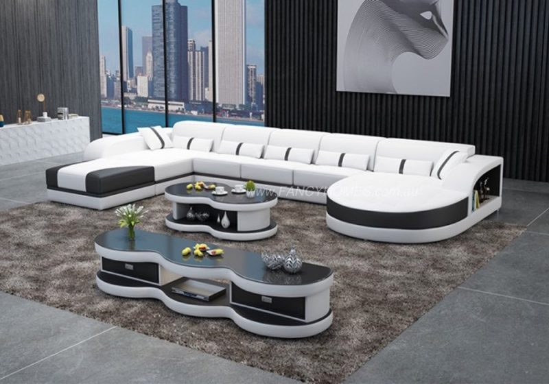 Fancy Homes Dominic Modular Leather Sofa in White and Black Leather with Adjustable Headrests and Open Shelf Displays