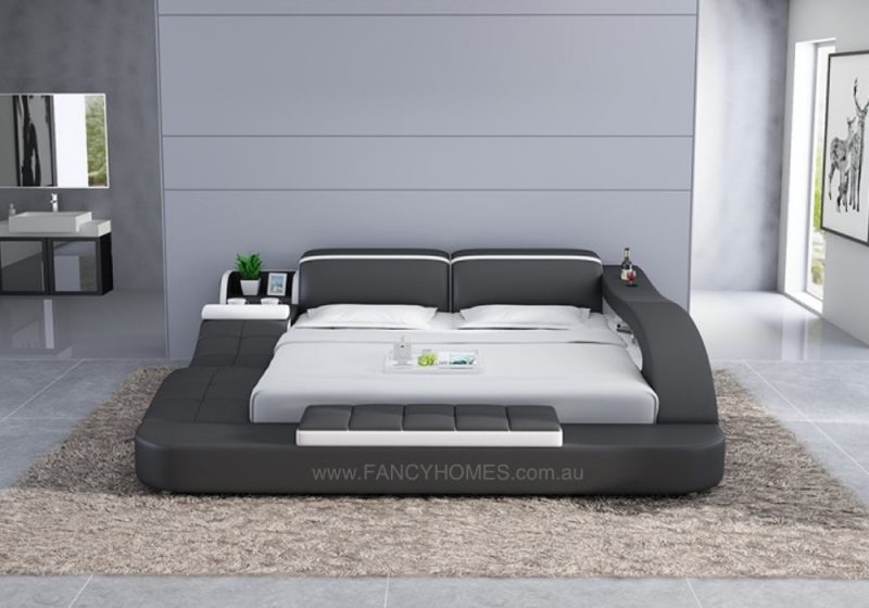 Fancy Homes Tanika Italian Leather Bed Frame, Leather Beds features low foot design