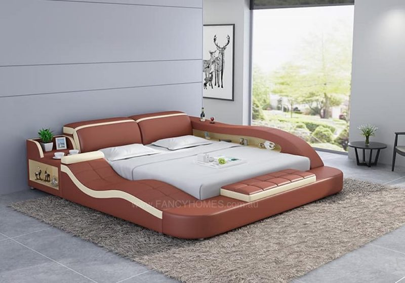 Fancy Homes Tanika Italian Leather Bed Frame, Leather Beds in bronze and cream