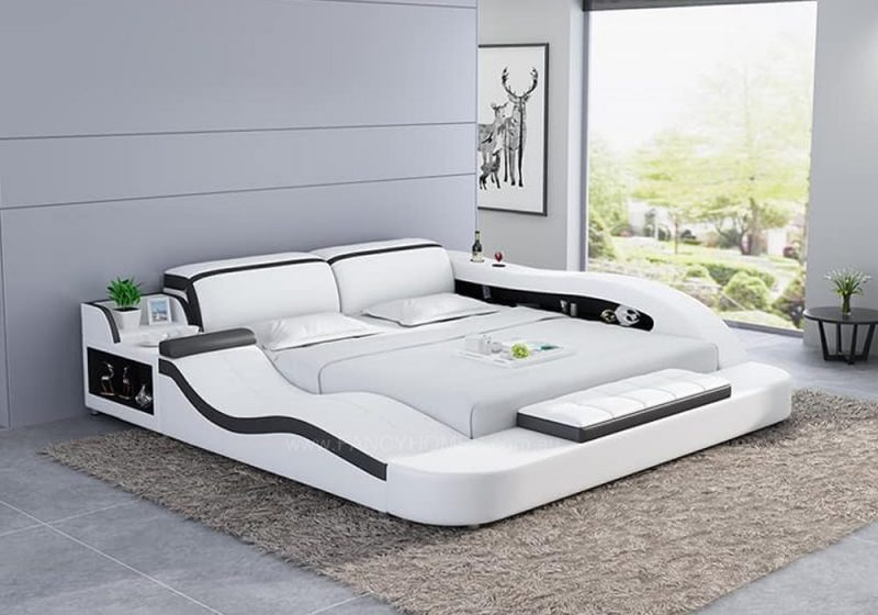 Fancy Homes Tanika Italian Leather Bed Frame, Leather Beds in white and black