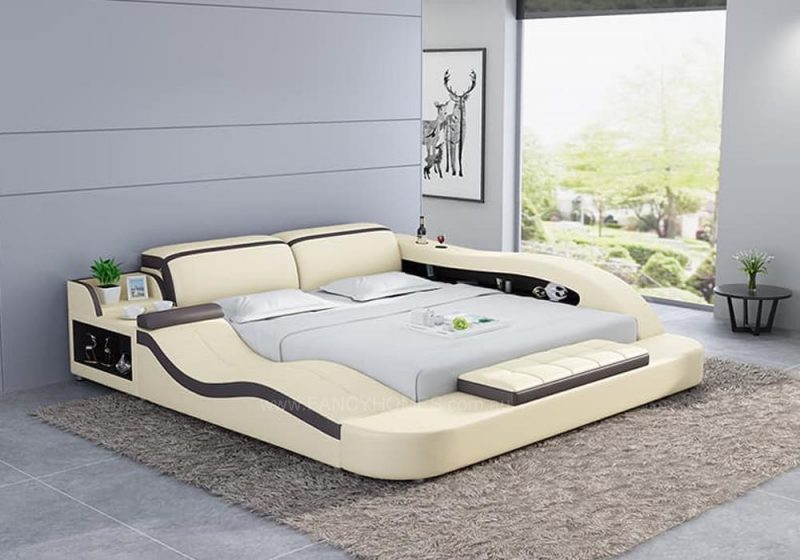 Fancy Homes Tanika Italian Leather Bed Frame, Leather Beds in cream and dark brown