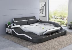 Fancy Homes Tanika Italian Leather Bed Frame in dark grey and white