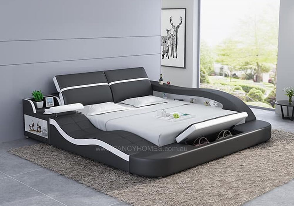. TANIKA  Contemporary Italian Leather Bed Frame