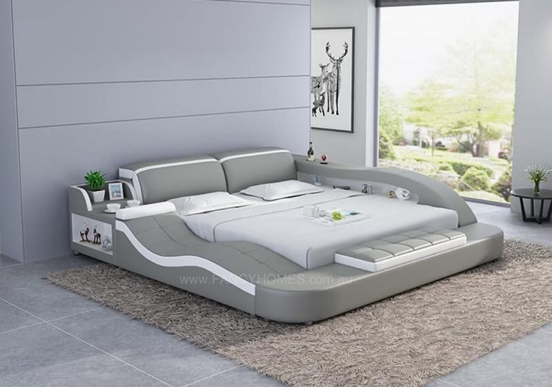 Fancy Homes Tanika Italian Leather Bed Frame, Leather Beds in light grey and white