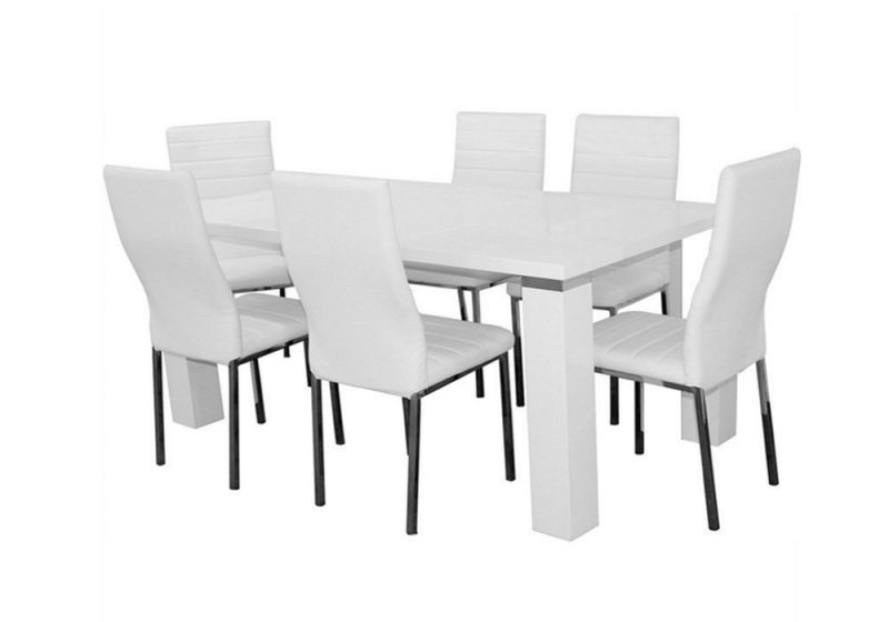 Wellington7 Piece Dining Set with White Napoli Chairs