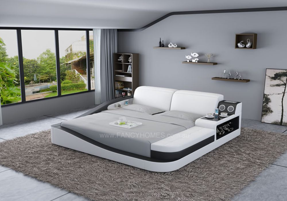 Cathay Contemporary Italian Leather Bed Frame Fancy Homes