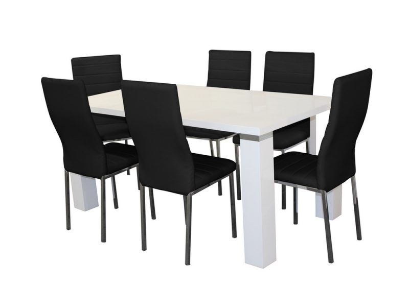 wellington dining set with black chairs