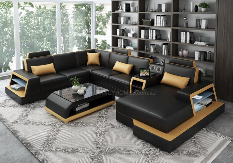 Fancy Homes Beverly leather Modular Leather Sofa in Black and Tan Leather