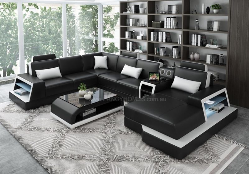 Fancy Homes Beverly Modular Leather Sofa in Black and White Leather