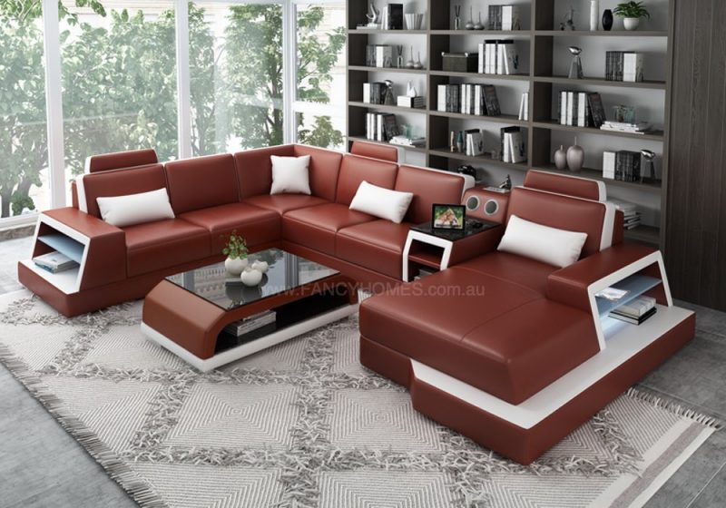 Fancy Homes Beverly Modular Leather Sofa in Red and White Leather