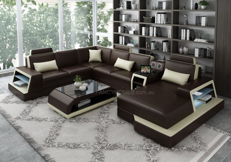 Fancy Homes Beverly Modular Leather Sofa in Brown and Beige Leather