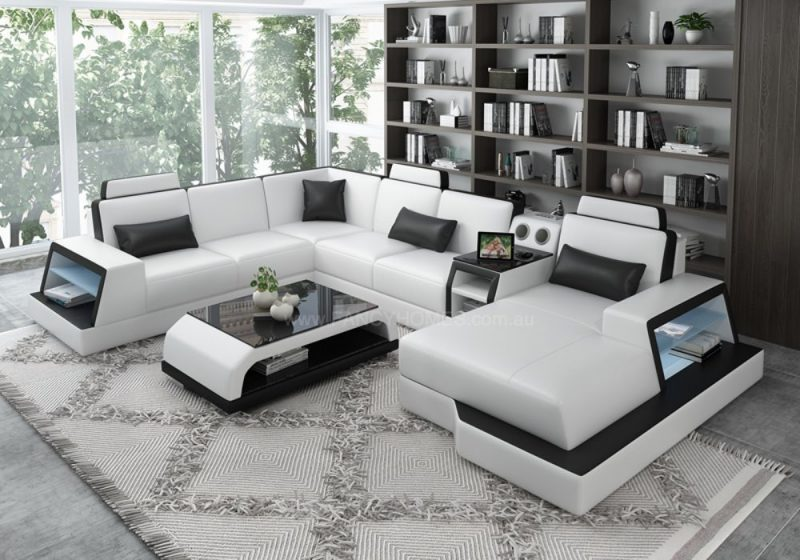 Fancy Homes Beverly Modular Leather Sofa in White and Black Leather