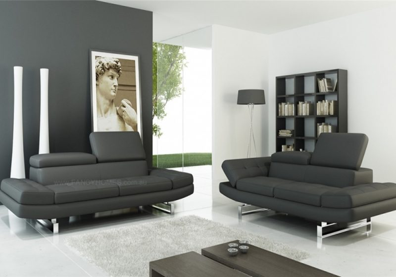 Fancy Homes Astra lounge suites leather sofa in black leather with adjustable headrests and armrests
