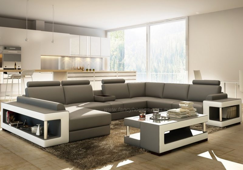 Fancy Homes Taurus Modular Leather Lounge in Grey leather with open-shelf displays and foldable cupholders