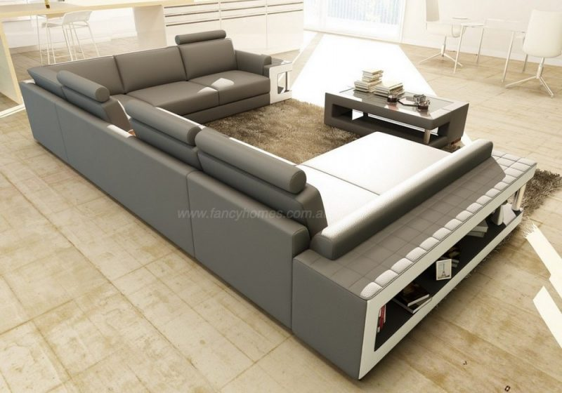 Fancy Homes Taurus modular leather sofa in grey leather with open-shelf displays and foldable cupholders
