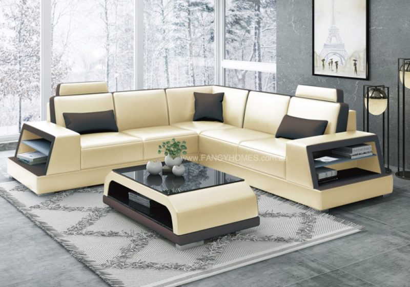 Fancy Homes Beverly-B Corner Leather Sofa in Beige and Brown