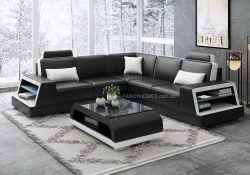 Fancy Homes Beverly-B Corner Leather Sofa in Black and White Leather