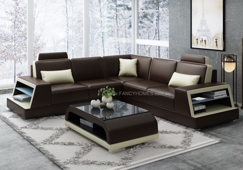 Fancy Homes Beverly-B Corner Leather Sofa in Brown and Beige