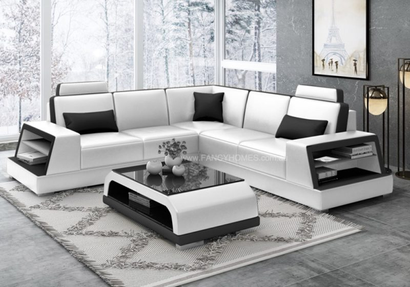 Fancy Homes Beverly-B Corner Leather Sofa in White and Black Leather