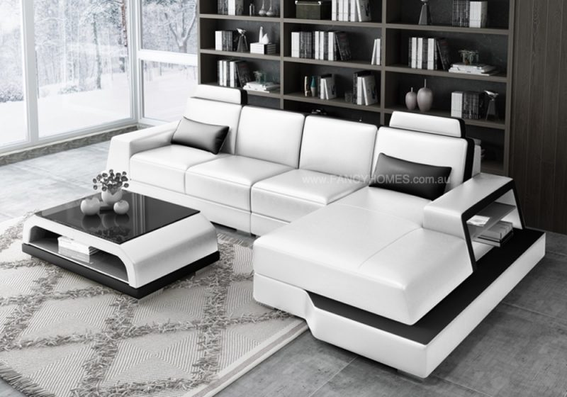 Fancy Homes Beverly-C Chaise Leather Sofa in white and black leather