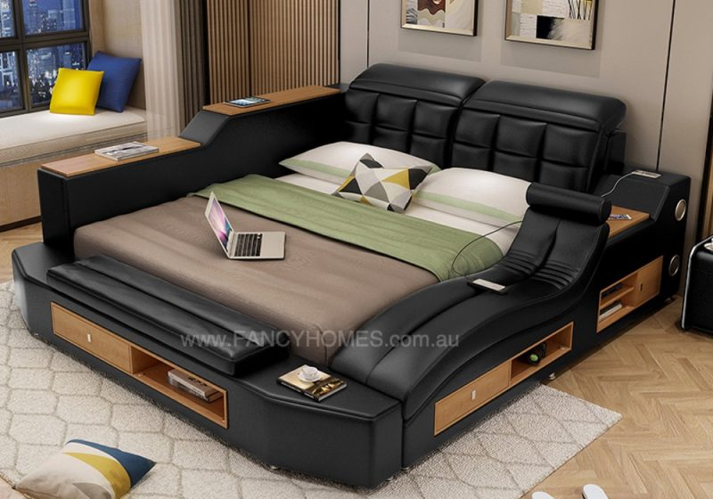 ella leather bed frame black