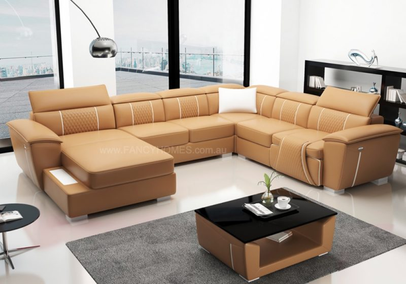 Fancy Homes Apollo-A Recliner Modular Leather Sofa in Beige and White Leather