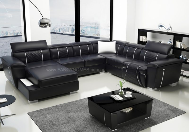 Fancy Homes Apollo Recliner Modular Leather Sofa in Black and White Leather