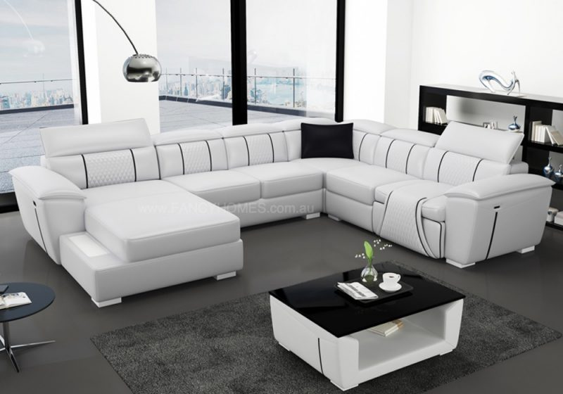 Fancy Homes Apollo-A Recliner Modular Leather Sofa in White and Black Leather