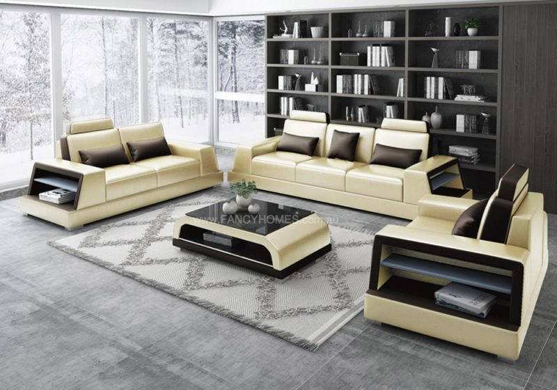 Fancy Homes Beverly-D Lounges Suites Leather Sofa in Beige and Brown Leather