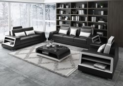 Fancy Homes Beverly-D Lounges Suites Leather Sofa in black and white leather