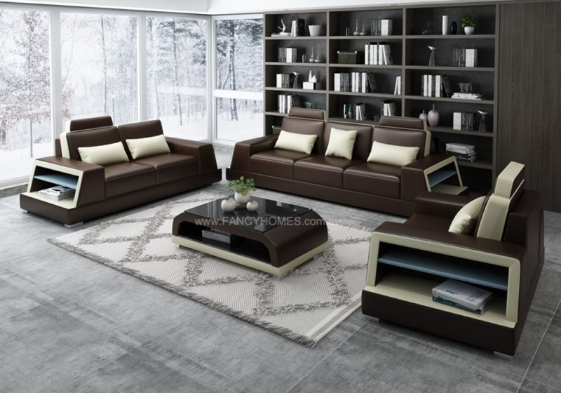Fancy Homes Beverly-D Lounges Suites Leather Sofa in Brown and Beige Leather