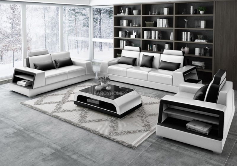 Fancy Homes Beverly-D Lounges Suites Leather Sofa in the white and black leather