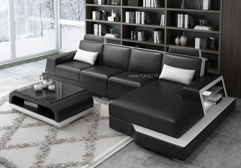 Beverly-c Chaise Leather Sofa in black and white