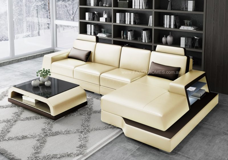Fancy Homes Beverly-C Chaise Leather Sofa in Beige and Brown Leather