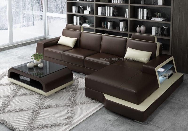 Fancy Homes Beverly-C Chaise Leather Sofa in Brown and Beige Leather