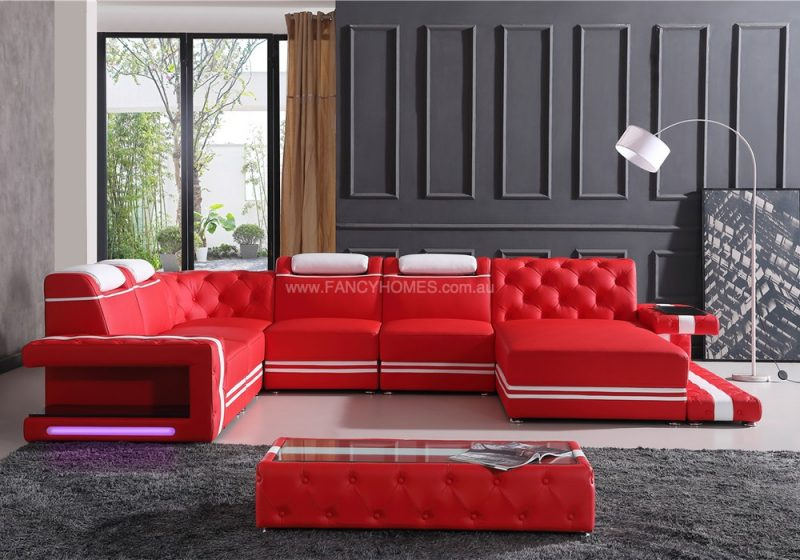 Fancy Homes Catrina-A Modular Leather Sofa in Red and White Leather