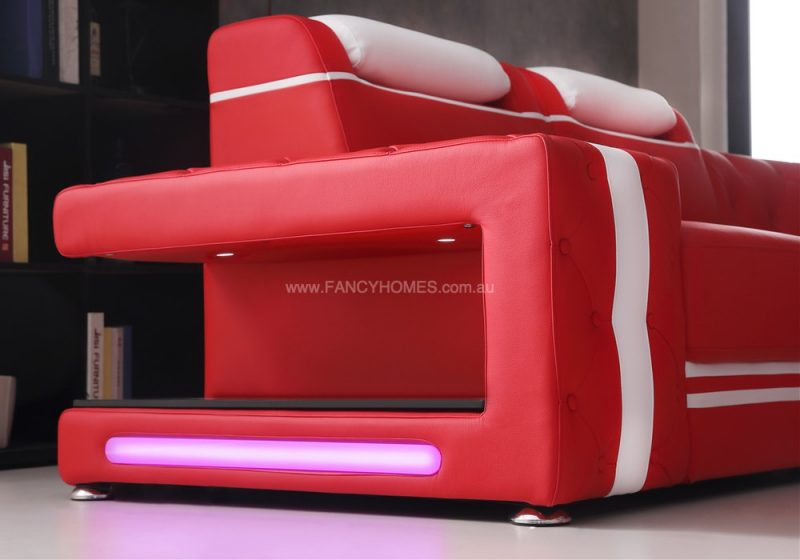 Fancy Homes Catrina-A Modular Leather Sofa Armrest with Open-shelf Displays and LED Light