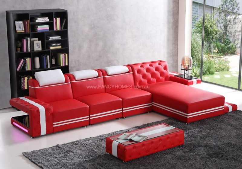 Fancy Homes Catrina-C Chaise Leather Sofa in Red and White Leather