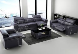 Fancy Homes Apollo-D Recliner Lounges Suites Leather Sofa in Black and White Leather