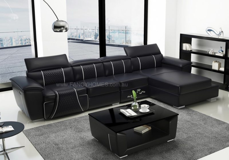 Fancy Homes Apollo-C Recliner Chaise Leather Sofa in Black and White Leather