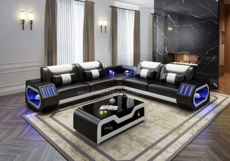Fancy Homes Razzo-B Corner Leather Sofa in Black and White Leather