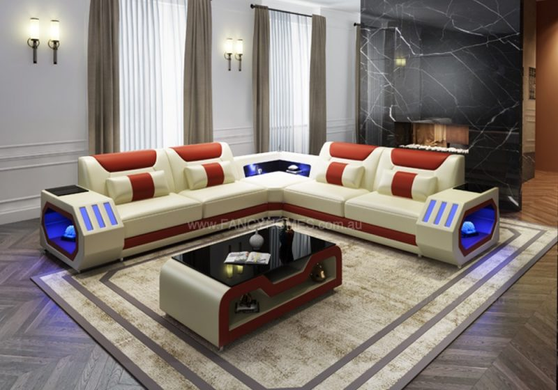 Fancy Homes Razzo-B Corner Leather Sofa in Creamy White and Red Leather