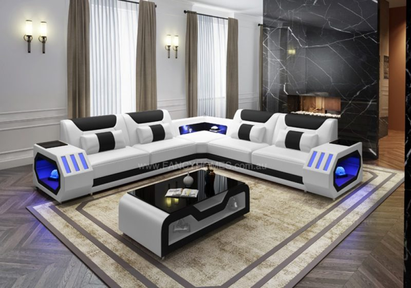 Fancy Homes Razzo-B Corner Leather Sofa in White and Black Leather