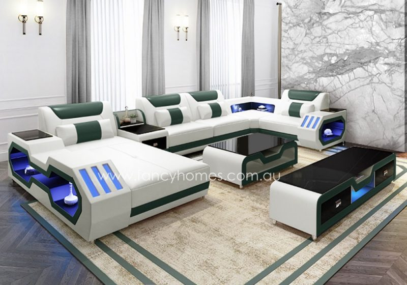 Fancy Homes Razzo modular leather sofa in white and green leather