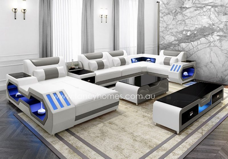 Fancy Homes Razzo modular leather sofa in white and grey leather